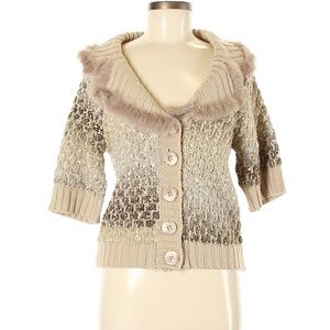 Alberto Makali Fur Collar Cardigan Sweater